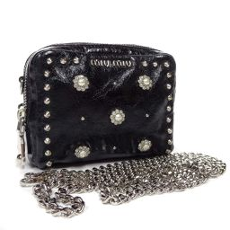 MIUMIU Miu Miu Flower Studs Mini Chain 5N1750 Shoulder Bag Leather Black Ladies [Used]