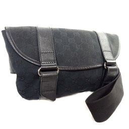 GUCCI Gucci GG Canvas 145851 Waist Bag Canvas / Leather Black Ladies [Used]
