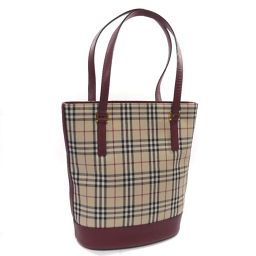 BURBERRY Burberry Nova Check Bucket Type Tote Bag Canvas / Leather Beige Bordeaux Ladies [Used]