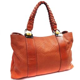 GUCCI Gucci Braided Handle Bamboo 232947 Tote Bag Leather Salmon Pink Ladies [Used]