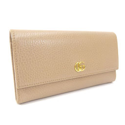 GUCCI Gucci Continental Wallet GG Marmont 456116 Long Wallet Leather Pink Beige Ladies [Used]