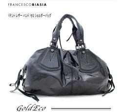 FRANCESCO BIASIA 【フランチェスコ ビアジア】 パテント レザー ショルダーバッグブラック カバンハンドバッグ