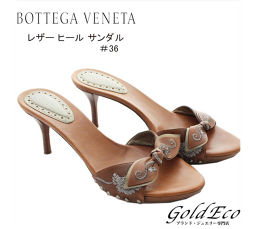 BOTTEGA VENETA【ボッテガ ヴェネタ】リボンモチーフ レザー ヒール サンダル#36 23.0cm レディースブラウン 茶色 靴