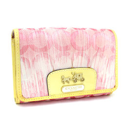 COACH Coach Op Art Madison Bi-fold Wallet Canvas / Leather Pink Ladies [Pre]