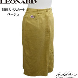 LEONARD 【Leonard】 Skirt Embroidered Tight Beige Knee Length Ladies 100% Cotton 【Pre-owned】 LEONARD [Leonard]