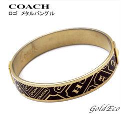 COACH 【コーチ】ロゴ メタル バングル レディースアクセサリー ブラウン ゴールド 【中古】ブレスレット