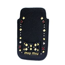 MIUMIU ミュウミュウ iPhone4ケース スマホケース その他ファッション雑貨 レザー ブラック レディース【中古】