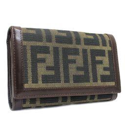 FENDI フェンディ ズッカ 二つ折り財布 キャンバス/レザー ブラウン カーキ レディース【中古】