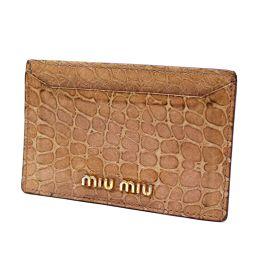 MIUMIU ミュウミュウ クロコ調 カードケース 型押しレザー ピンクベージュ レディース【中古】