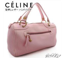 CELINE 【セリーヌ】型押しレザー ハンドバッグミニ ボストンバッグライトピンク ゴールド金具ピンク レザー バッグ