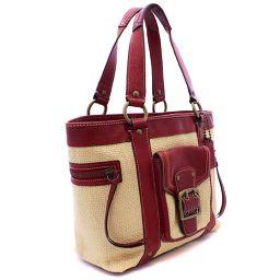 COACH Coach basket bag M05K-113 Shoulder bag straw / leather beige red ladies [pre-owned]