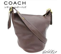 COACH 【コーチ】レザー ショルダーバッグ トートバッグダークブラウン 茶色  レザー レディース メンズ斜め掛け