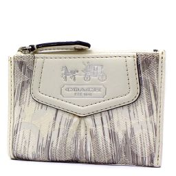 COACH Coach Op Art with Key Ring Coin Case Canvas / Leather White Ladies [pre-owned]