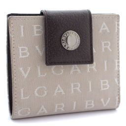 BVLGARI ブルガリ ロゴマニア コンパクト 二つ折り財布 キャンバス/レザー ベージュ ブラウン ユニセックス【中古】
