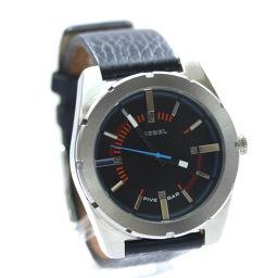 DIESEL ディーゼル ビッグフェイス ラウンド DZ-1597 腕時計 ブラック文字盤 クオーツ シルバー ブラック メンズ【中古】