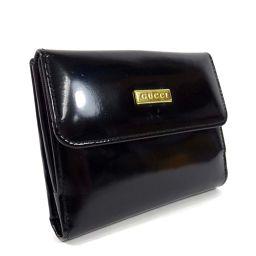 GUCCI グッチ ロゴ Wホック 二つ折り財布 パテントレザー ブラック ゴールド金具 レディース【中古】