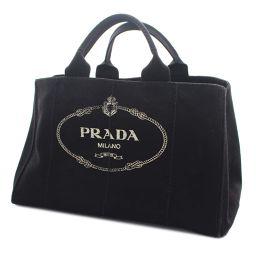 PRADA プラダ カナパGM トートバッグ キャンバス ブラック レディース【中古】