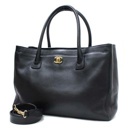 CHANEL Chanel 2WAY Executive Coco Mark A15206 Tote Bag / Soft Caviar Skin Black Women [Pre]