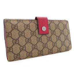 GUCCI Gucci Folded W Hook 115046 Long Purse GG Plus / Leather / PVC Beige Pink Women [Pre]