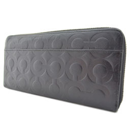COACH Coach Round Zip Signature Embossed Long Wallet Leather Black Unisex [Used]