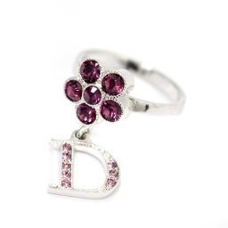 Christian Dior Christian Dior Flower Logo Ring / Ring Rhinestone / Metal Accessory 9.5 Silver Purple Women's [pre]
