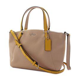 COACH Coach Mini Kelcy Satchel 2WAY F59853 Handbag Leather Beige Yellow Women [Pre]