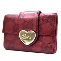 GUCCI Gucci 6-Red Heart 203351 Key Case Sima Leather Bordeaux Womens [pre-owned]