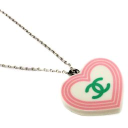 CHANEL Chanel Heart Coco Mark Pendant Necklace Plastic Accessory White / Pink / Green / Yellow Silver Hardware Women's [pre]