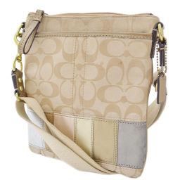 COACH Coach Pochette Signature Shoulder Bag Canvas / Leather Beige Women [Pre]