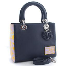 Christian Dior クリスチャンディオール レディディオール 2way M0550 ハンドバッグ レザー ネイビー イエロー レディース【中古】