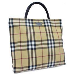 BURBERRY Burberry Plaid Handbag Tote Bag PVC Coated Canvas / Leather Beige Ladies [Used]