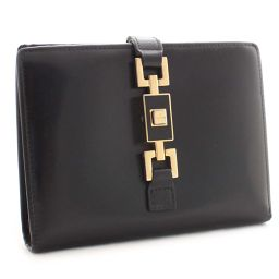 GUCCI Gucci Jackie bracket Two-fold wallet Leather Black Gold bracket Unisex [pre]