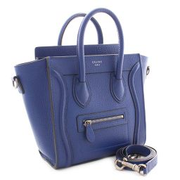 CELINE Celine luggage Nano Shopper 2WAY 168243 handbag calf blue ladies [pre-owned]
