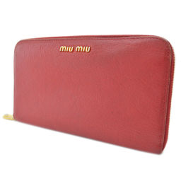 MIUMIU Miu Miu round zipper long wallet leather red ladies [pre-owned]