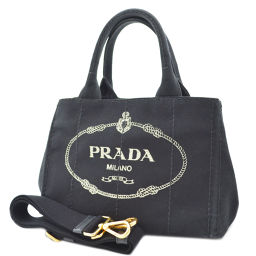 PRADA Prada 2way Kanapa 1BG439 handbag canvas black ladies [pre]