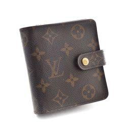LOUIS VUITTON ルイ ヴィトン コンパクト・ジップ モノグラム  M61667 二つ折り財布 モノグラムキャンバス ブラウン レディース【中古】