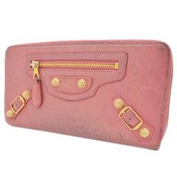 BALENCIAGA Balenciaga round zipper wallet leather pink ladies 【pre-owned】