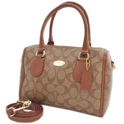 COACH coach 2way signature F34084 handbag PVC / leather brown ladies 【pre-owned】