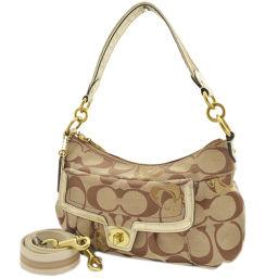 COACH coach 2 way signature F 18756 shoulder bag canvas / leather beige women's [pre]