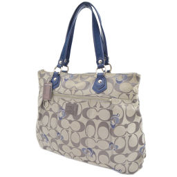 COACH Coach Signature Tote Bag Canvas / Leather Gray Women's [pre]