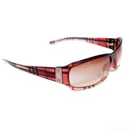 BURBERRY Burberry Plaid Gradient Sunglasses Plastic Red Ladies [Used]