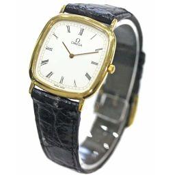 OMEGA オメガ デビル 腕時計 ホワイト文字盤 クオーツ ブラック ゴールド メンズ【中古】