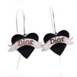 Christian Dior クリスチャンディオール ハート ロゴ ピアス シルバー925 アクセサリー シルバー ブラック レディース【中古】