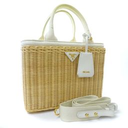 PRADA Prada Wicker 2way 1BG835 handbag rattan / canvas beige white ladies [used]