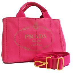 PRADA プラダ ミニカナパ 2way ショルダーバッグ B2439G ハンドバッグ キャンバス ピンク レディース【中古】