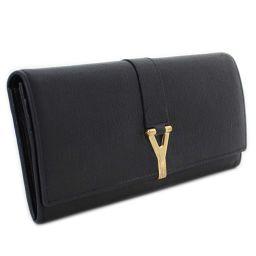 YVES SAINT LAURENT イヴ・サンローラン Yライン 2つ折り 長財布 レザー ブラック ゴールド金具 ユニセックス【中古】