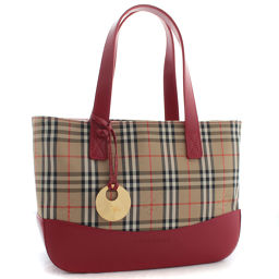 BURBERRY Burberry Nova Check handbag canvas / leather beige red ladies [pre-owned]