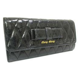 MIUMIU ミュウミュウ リボン 二つ折り 長財布 レザー ブラック レディース【中古】