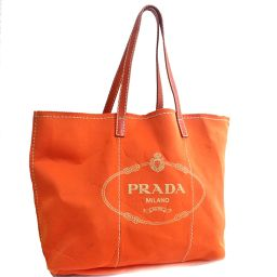 PRADA プラダ ショルダーバッグ トートバッグ レザー/ネオプレーン オレンジ レディース【中古】