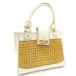 SAZABY basket bag handbag leather / straw brown white ladies [pre-owned]